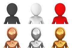 kulöra avatarsymboler för folk 3d för rengöringsduk Arkivfoto