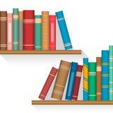 Kulöra böcker på hyllor med lyftta musikband på en inbindningsräkning royaltyfri illustrationer