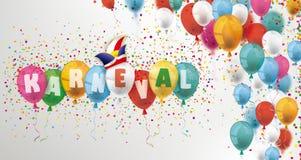 Kulöra ballonger och konfettititelrad Karneval royaltyfri illustrationer