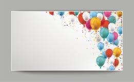 Kulöra ballonger och konfettititelradmall royaltyfri illustrationer
