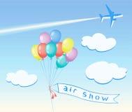 Kulöra ballonger som flyger, moln, flygplan Arkivbild