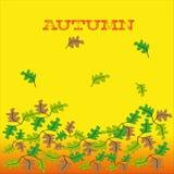 Kulöra blad på guling - orange bakgrund Stock Illustrationer