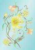 Kulöra blom- element royaltyfri illustrationer