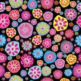 kulöra blommor mönsan seamless stock illustrationer