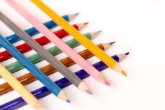 Kulöra blyertspennafärgpennor Fotografering för Bildbyråer