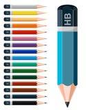 Kulöra blyertspennor. Arkivbild