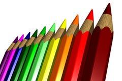 Kulöra blyertspennor - 3D Arkivfoto