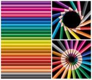 kulöra blyertspennor för collage Royaltyfria Foton