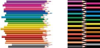 kulöra blyertspennor för collage Royaltyfria Bilder