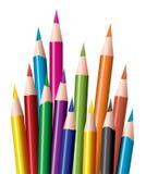 kulöra blyertspennor för grupp Arkivbilder