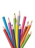 kulöra blyertspennor för grupp Royaltyfria Bilder