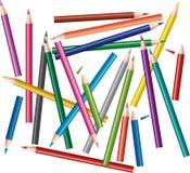 kulöra blyertspennor för kaos Arkivbilder