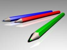 Kulöra blyertspennor för RGB Royaltyfri Foto