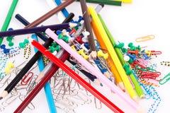 Kulöra blyertspennor, gemmar Arkivbild