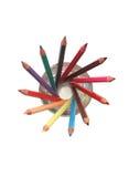 Kulöra blyertspennor i exponeringsglas Arkivbild