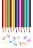 kulöra blyertspennor klottrar Royaltyfria Bilder