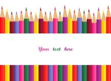 Kulöra blyertspennor med avstånd för text Royaltyfri Foto