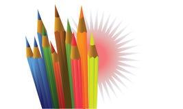 Kulöra blyertspennor och bubblor Royaltyfria Bilder
