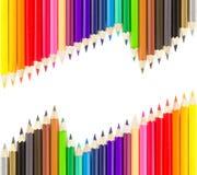 kulöra blyertspennor rows sets Royaltyfria Bilder