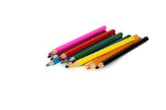 Kulöra blyertspennor som isoleras Royaltyfri Foto