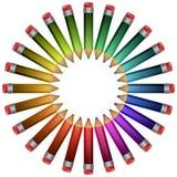 Kulöra blyertspennor som omkring ligger. Arkivfoton