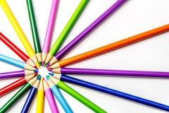 Kulöra blyertspennor Starburst/Sunburst Arkivfoto