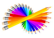 Kulöra blyertspennor, vektoruppsättning stock illustrationer