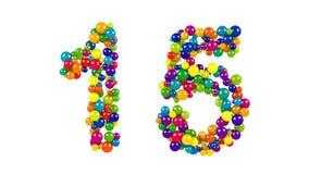 Kulöra bollar i formen av nummer femton Royaltyfri Fotografi