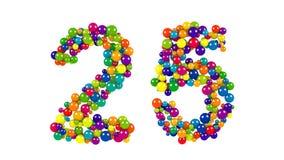 Kulöra bollar i formen av nummer tjugofem Fotografering för Bildbyråer