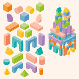 Kulöra byggnadskvarter för barn Arkivfoto
