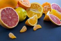 Kulöra citrusfrukter på ett mörker - blå bakgrund Skivor av citruns och peelen Citrus reticulata Citrust paradisi Citrus Limon Royaltyfri Foto