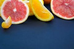 Kulöra citrusfrukter på ett mörker - blå bakgrund Skivor av citruns och peelen Citrus reticulata Citrust paradisi Citrus Limon Royaltyfri Fotografi