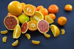 Kulöra citrusfrukter på ett mörker - blå bakgrund Skivor av citruns och peelen Citrus reticulata Citrust paradisi Citrus Limon Royaltyfria Foton