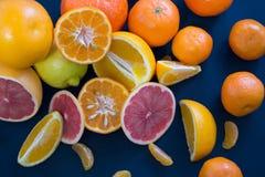 Kulöra citrusfrukter på ett mörker - blå bakgrund Skivor av citruns och peelen Citrus reticulata Citrust paradisi Citrus Limon Royaltyfria Bilder