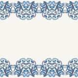 Kulöra dekorativa sömlösa gränser för vektorblått Broderad blom- modell Arkivfoto