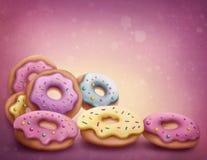 Kulöra donuts för pastell royaltyfri illustrationer