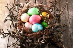 Kulöra easter ägg i rede Arkivbild