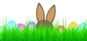 Kulöra easter ägg och easter kanin i grönt gräs Royaltyfri Foto