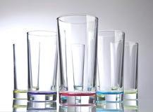 Kulöra exponeringsglas för lång drink Arkivfoto