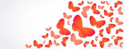 Kulöra fjärilar för apelsin på vit - illustration Royaltyfria Foton