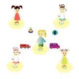 Kulöra flickor för leksak Fotografering för Bildbyråer