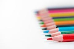 kulöra fodrade blyertspennor upp Royaltyfri Foto