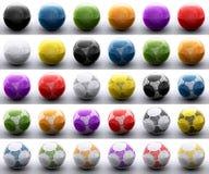 Kulöra fotbollbollar royaltyfri bild