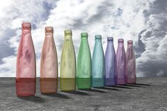 Kulöra glasflaskor Royaltyfria Foton