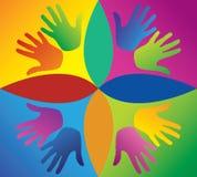Kulöra händer i en cirkel Royaltyfri Foto
