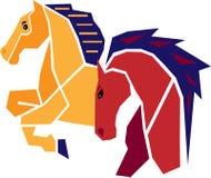 kulöra hästar Royaltyfria Bilder