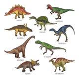 Kulöra illustrationer av olika dinosaurietyper Tyrannosarie, rex och stegosaurus stock illustrationer