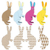 kulöra kaniner Arkivbild