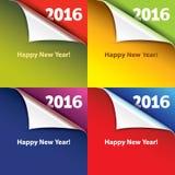 Kulöra klistermärkear med böjde hörn lyckligt nytt år Arkivbilder