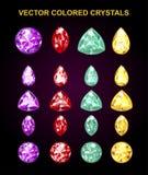 Kulöra kristaller för vektor Arkivbild